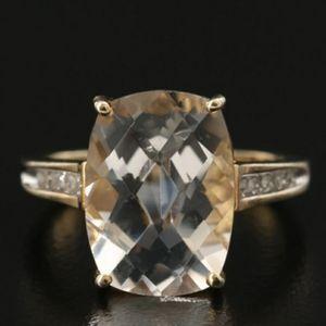 Sterling Silver Diamond / Rock Quartz Crystal Ring